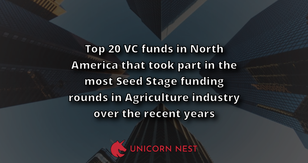 Top 20 VC funds in North America that took part in the most Seed Stage funding rounds in Agriculture industry over the recent years