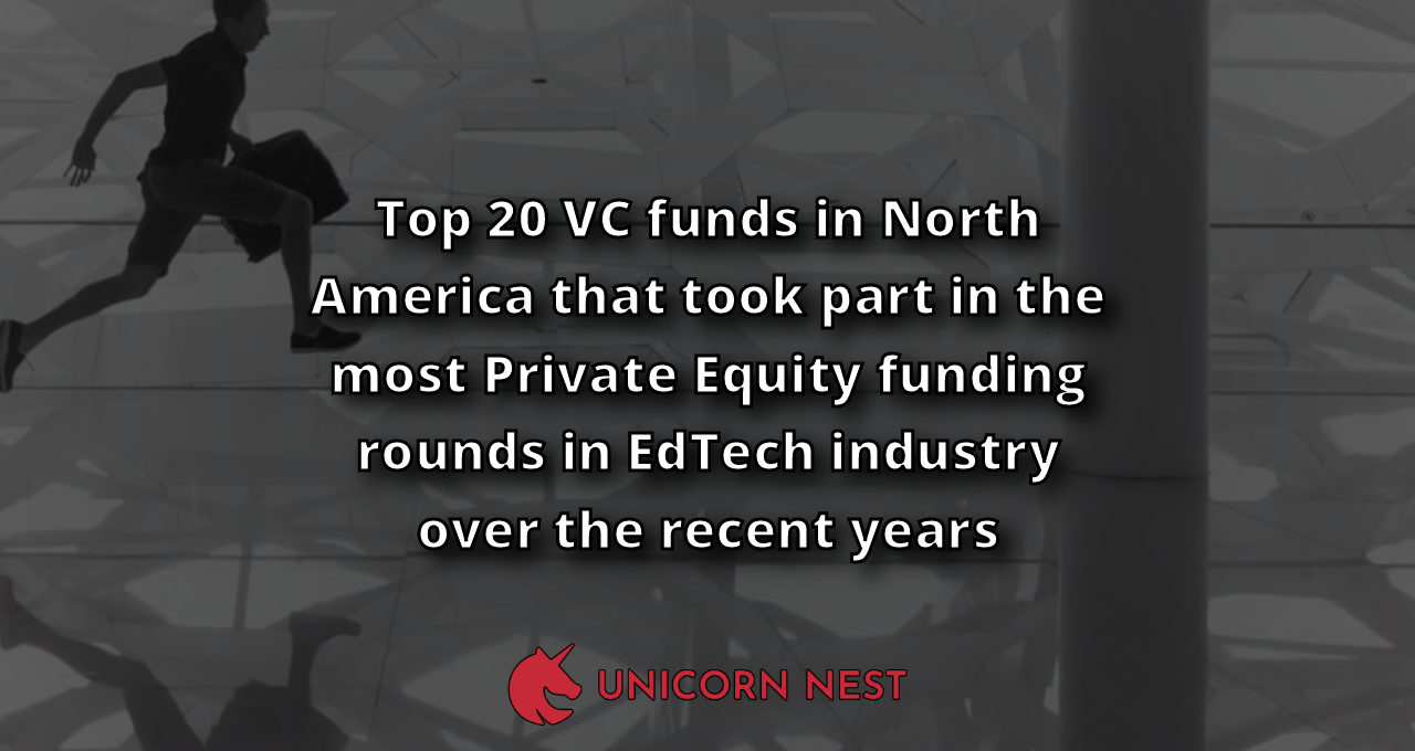 Top 20 VC funds in North America that took part in the most Private Equity funding rounds in EdTech industry over the recent years