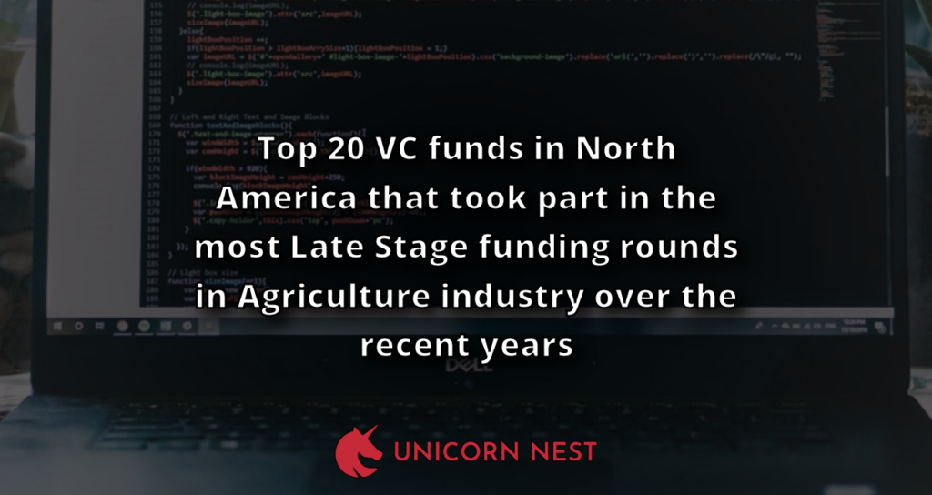Top 20 VC funds in North America that took part in the most Late Stage funding rounds in Agriculture industry over the recent years