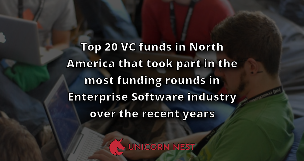 Top 20 VC funds in North America that took part in the most funding rounds in Enterprise Software industry over the recent years