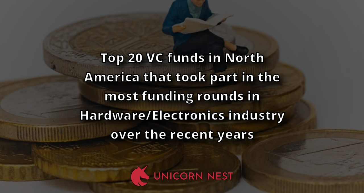 Top 20 VC funds in North America that took part in the most funding rounds in Hardware/Electronics industry over the recent years