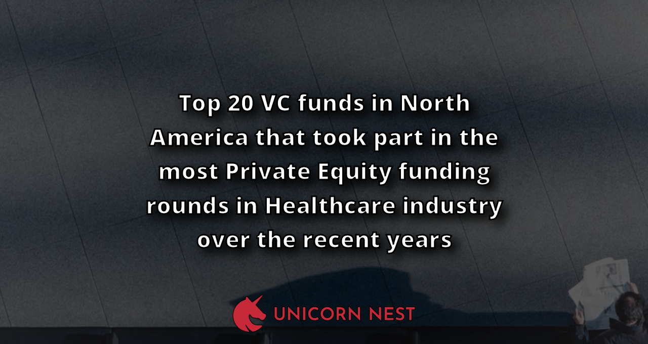 Top 20 VC funds in North America that took part in the most Private Equity funding rounds in Healthcare industry over the recent years