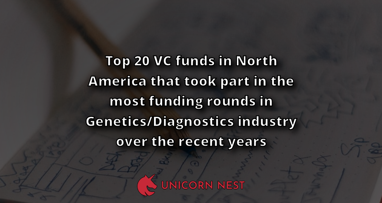 Top 20 VC funds in North America that took part in the most funding rounds in Genetics/Diagnostics industry over the recent years
