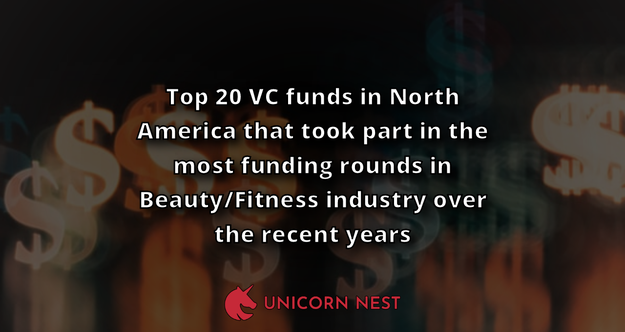 Top 20 VC funds in North America that took part in the most funding rounds in Beauty/Fitness industry over the recent years