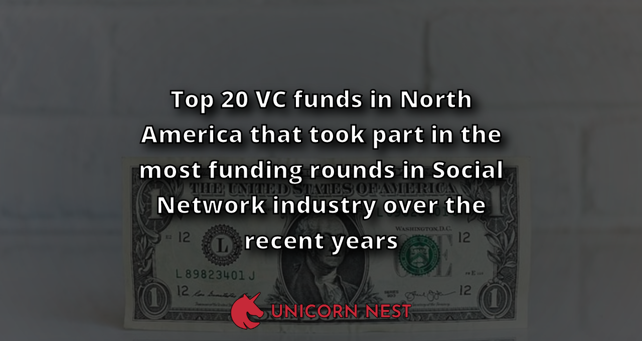 Top 20 VC funds in North America that took part in the most funding rounds in Social Network industry over the recent years