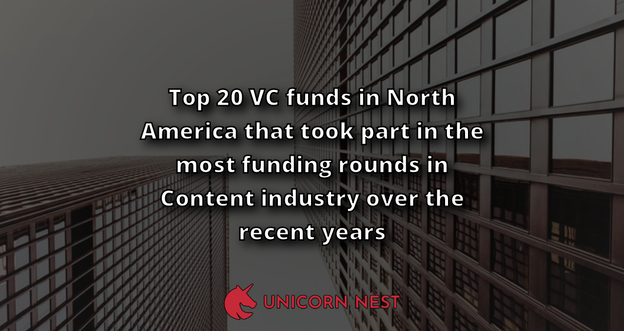 Top 20 VC funds in North America that took part in the most funding rounds in Content industry over the recent years