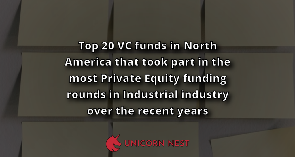 Top 20 VC funds in North America that took part in the most Private Equity funding rounds in Industrial industry over the recent years