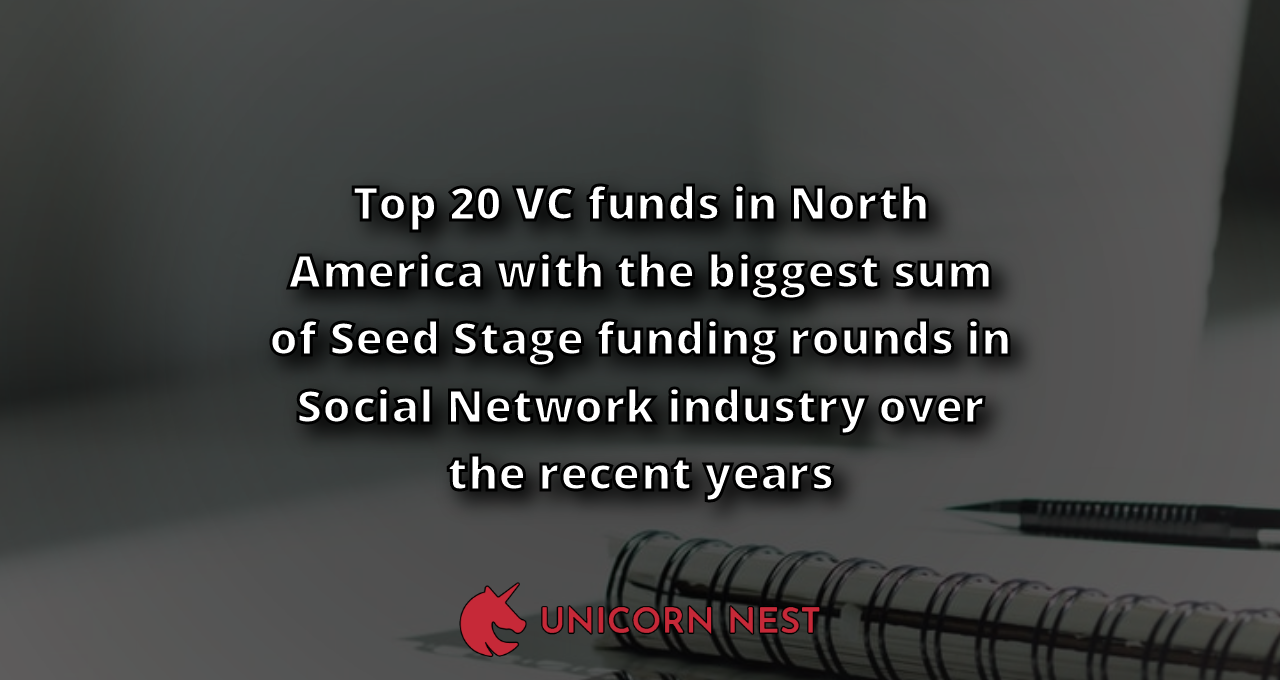 Top 20 VC funds in North America with the biggest sum of Seed Stage funding rounds in Social Network industry over the recent years