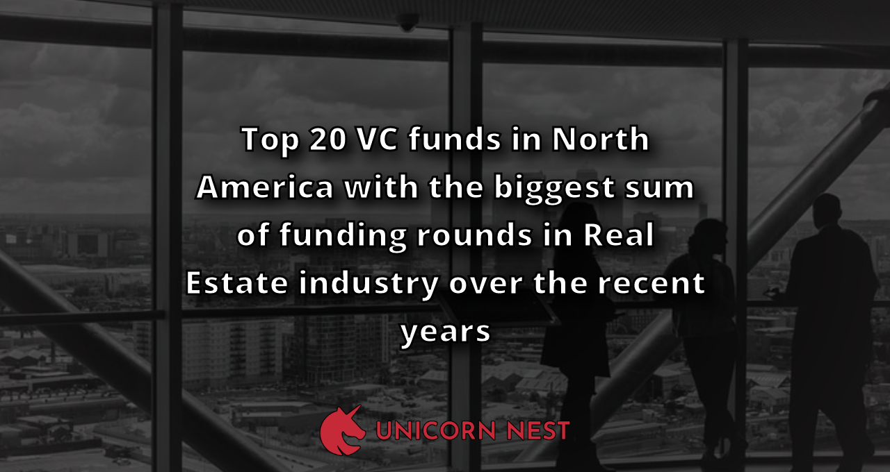 Top 20 VC funds in North America with the biggest sum of funding rounds in Real Estate industry over the recent years