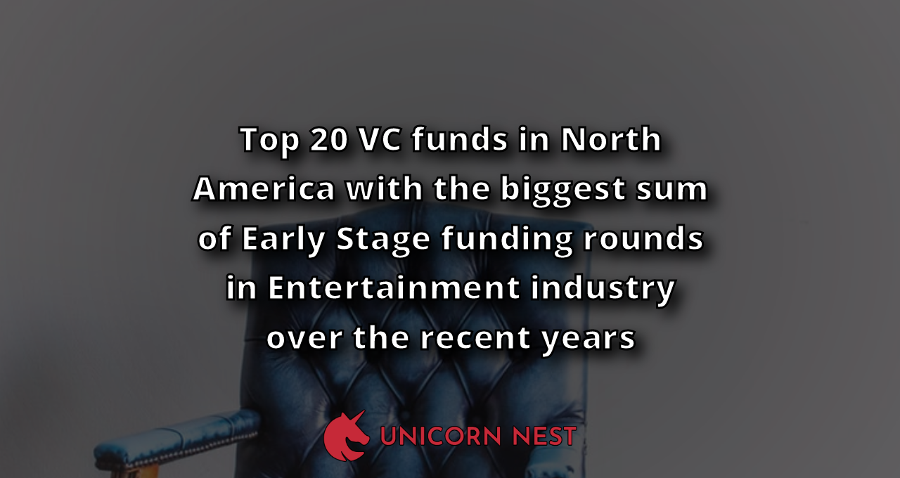 Top 20 VC funds in North America with the biggest sum of Early Stage funding rounds in Entertainment industry over the recent years