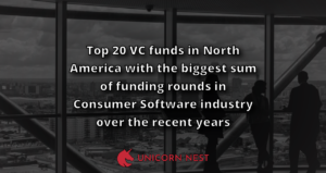Top 20 VC funds in North America with the biggest sum of funding rounds in Consumer Software industry over the recent years