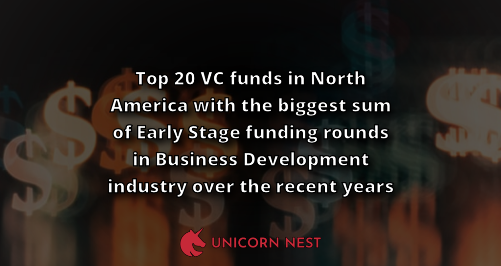 Top 20 VC funds in North America with the biggest sum of Early Stage funding rounds in Business Development industry over the recent years