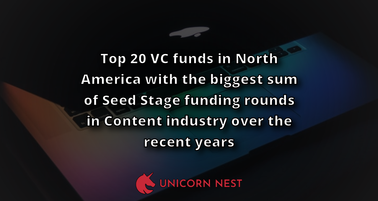 Top 20 VC funds in North America with the biggest sum of Seed Stage funding rounds in Content industry over the recent years