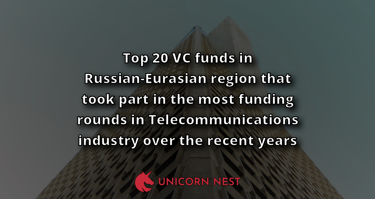 Top 20 VC funds in Russian-Eurasian region that took part in the most funding rounds in Telecommunications industry over the recent years