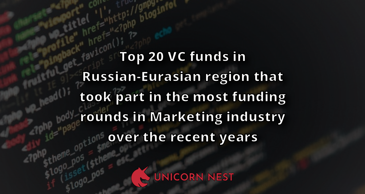 Top 20 VC funds in Russian-Eurasian region that took part in the most funding rounds in Marketing industry over the recent years