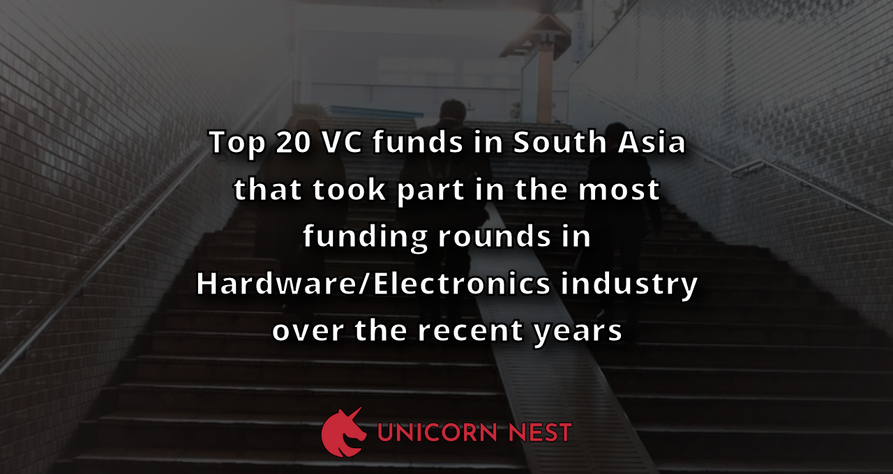 Top 20 VC funds in South Asia that took part in the most funding rounds in Hardware/Electronics industry over the recent years