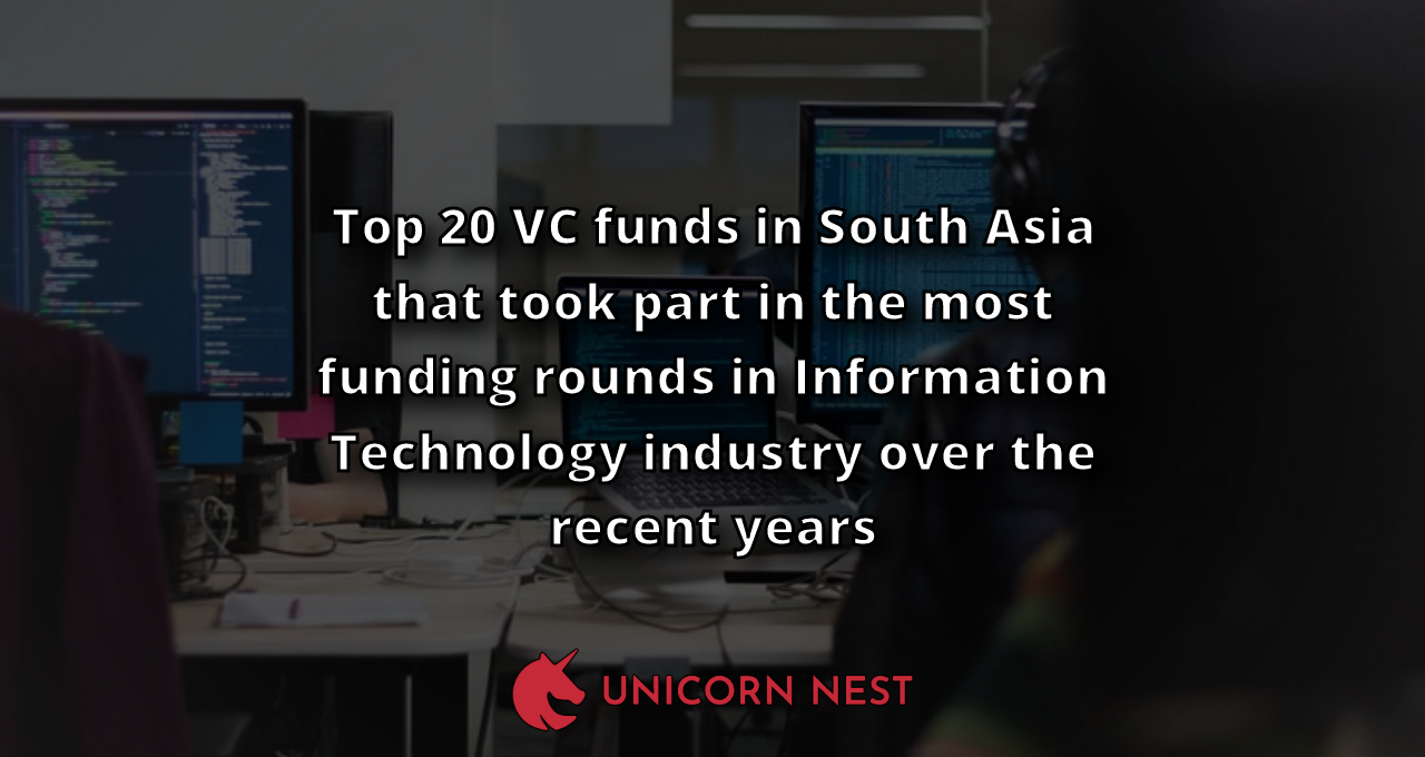 Top 20 VC funds in South Asia that took part in the most funding rounds in Information Technology industry over the recent years