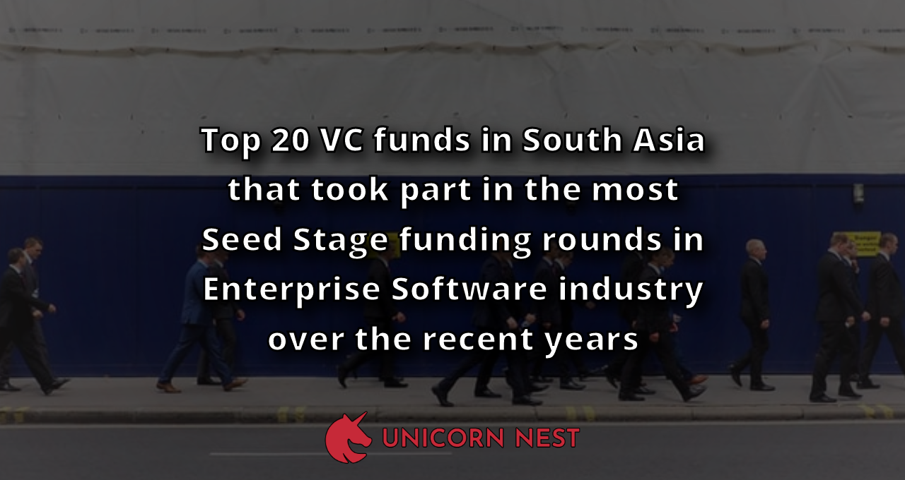 Top 20 VC funds in South Asia that took part in the most Seed Stage funding rounds in Enterprise Software industry over the recent years