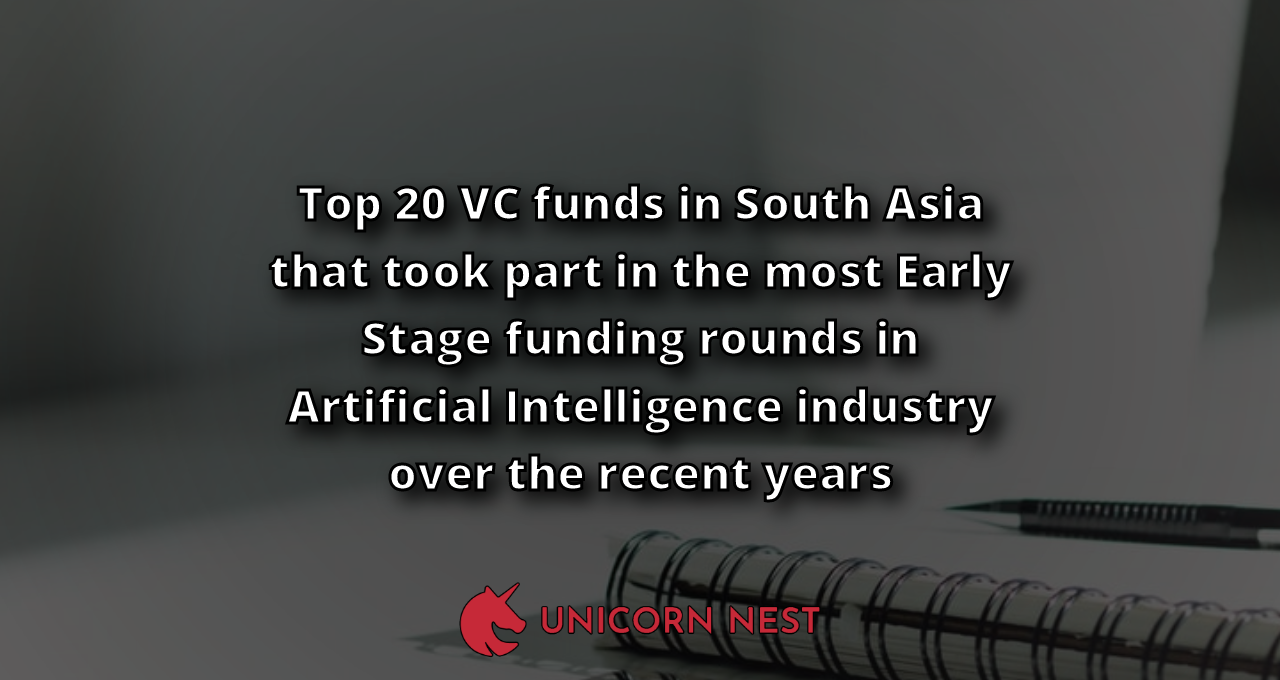 Top 20 VC funds in South Asia that took part in the most Early Stage funding rounds in Artificial Intelligence industry over the recent years