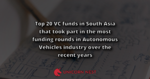 Top 20 VC funds in South Asia that took part in the most funding rounds in Autonomous Vehicles industry over the recent years
