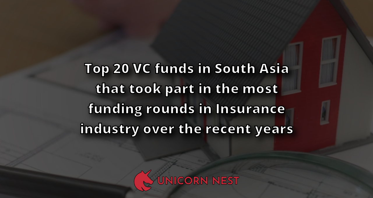Top 20 VC funds in South Asia that took part in the most funding rounds in Insurance industry over the recent years