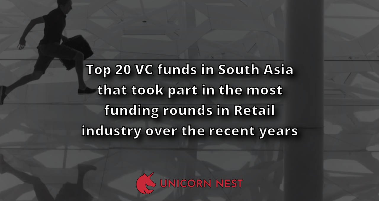Top 20 VC funds in South Asia that took part in the most funding rounds in Retail industry over the recent years
