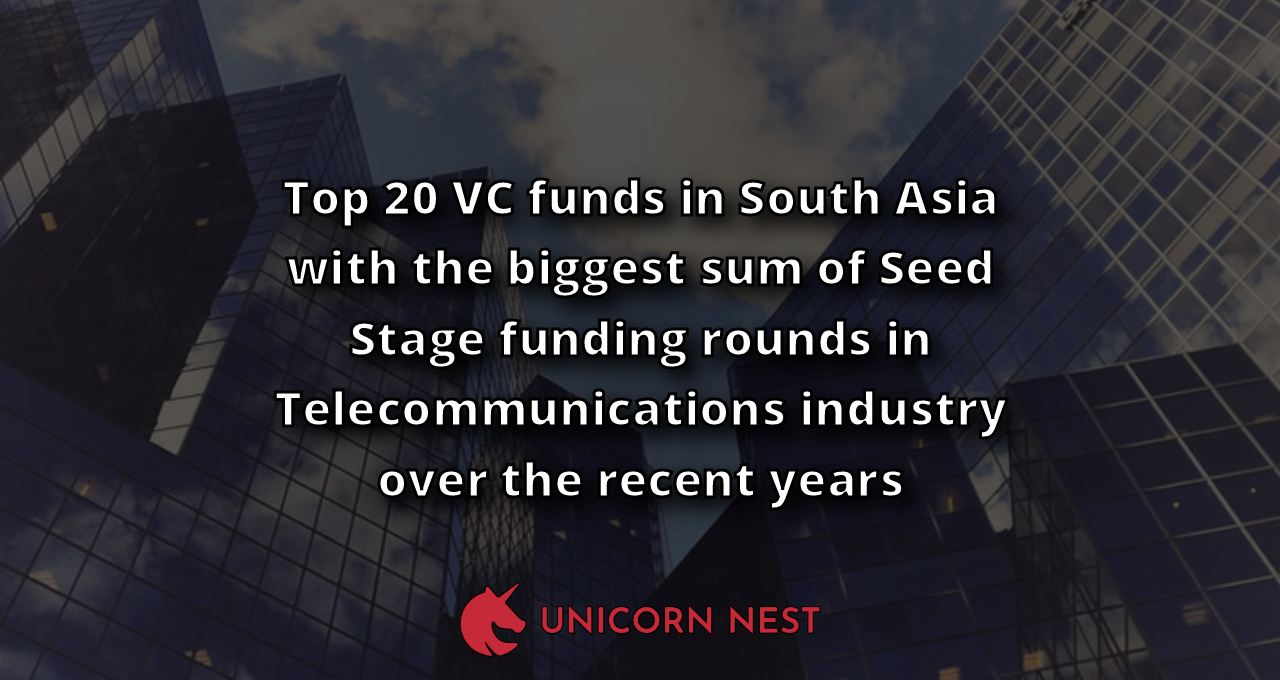 Top 20 VC funds in South Asia with the biggest sum of Seed Stage funding rounds in Telecommunications industry over the recent years