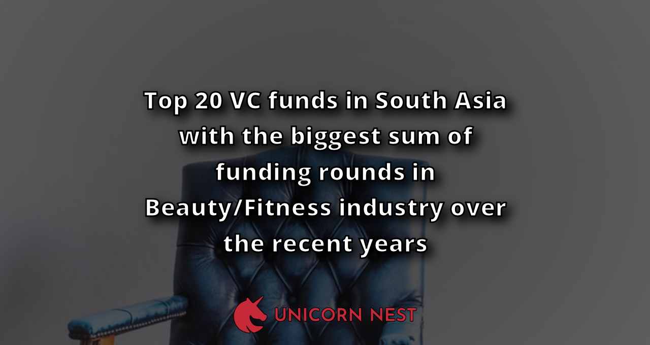 Top 20 VC funds in South Asia with the biggest sum of funding rounds in Beauty/Fitness industry over the recent years