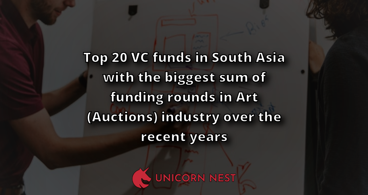 Top 20 VC funds in South Asia with the biggest sum of funding rounds in Art (Auctions) industry over the recent years