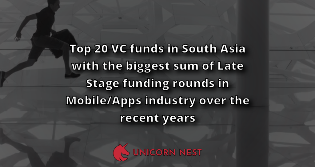 Top 20 VC funds in South Asia with the biggest sum of Late Stage funding rounds in Mobile/Apps industry over the recent years