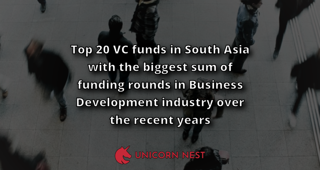 Top 20 VC funds in South Asia with the biggest sum of funding rounds in Business Development industry over the recent years