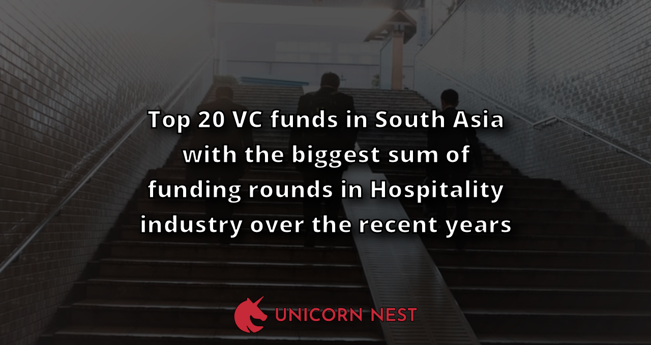 Top 20 VC funds in South Asia with the biggest sum of funding rounds in Hospitality industry over the recent years