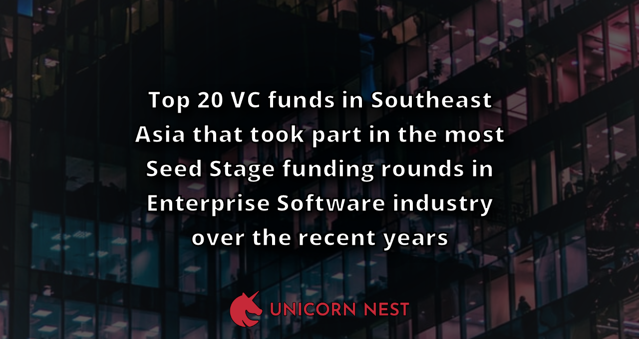 Top 20 VC funds in Southeast Asia that took part in the most Seed Stage funding rounds in Enterprise Software industry over the recent years