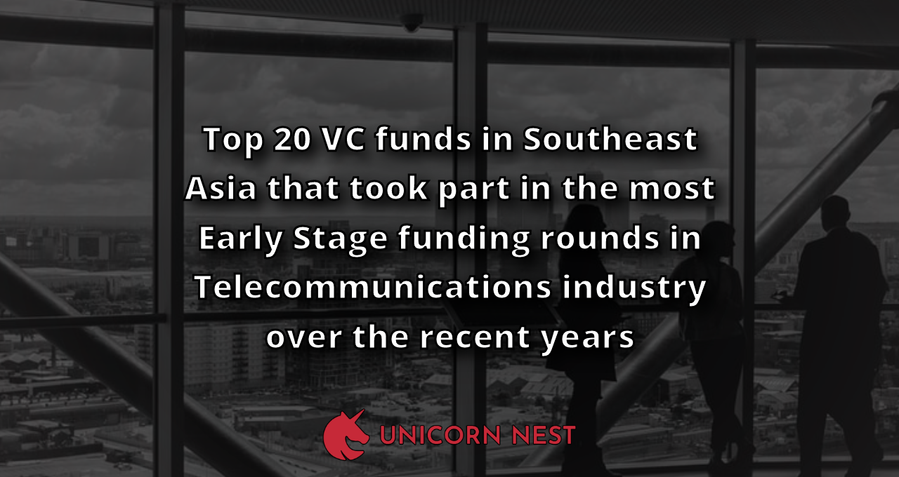 Top 20 VC funds in Southeast Asia that took part in the most Early Stage funding rounds in Telecommunications industry over the recent years
