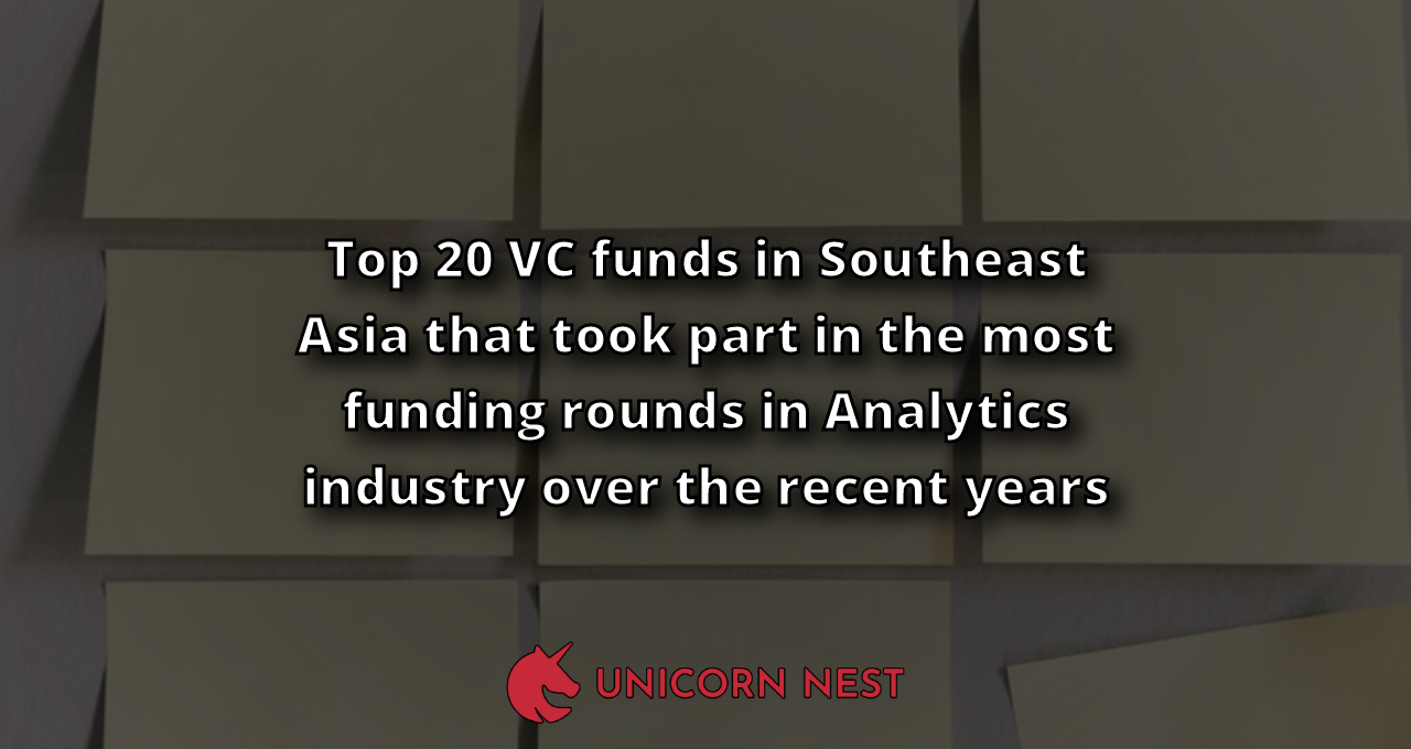 Top 20 VC funds in Southeast Asia that took part in the most funding rounds in Analytics industry over the recent years