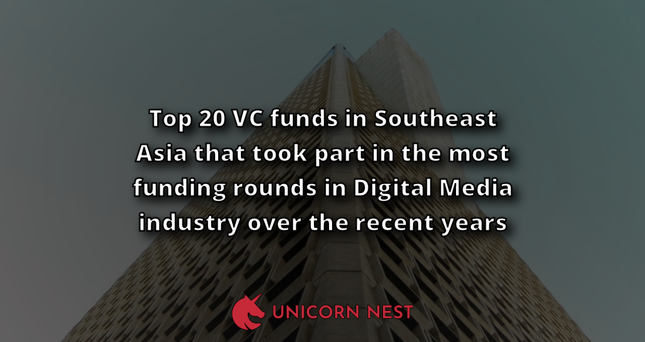 Top 20 VC funds in Southeast Asia that took part in the most funding rounds in Digital Media industry over the recent years