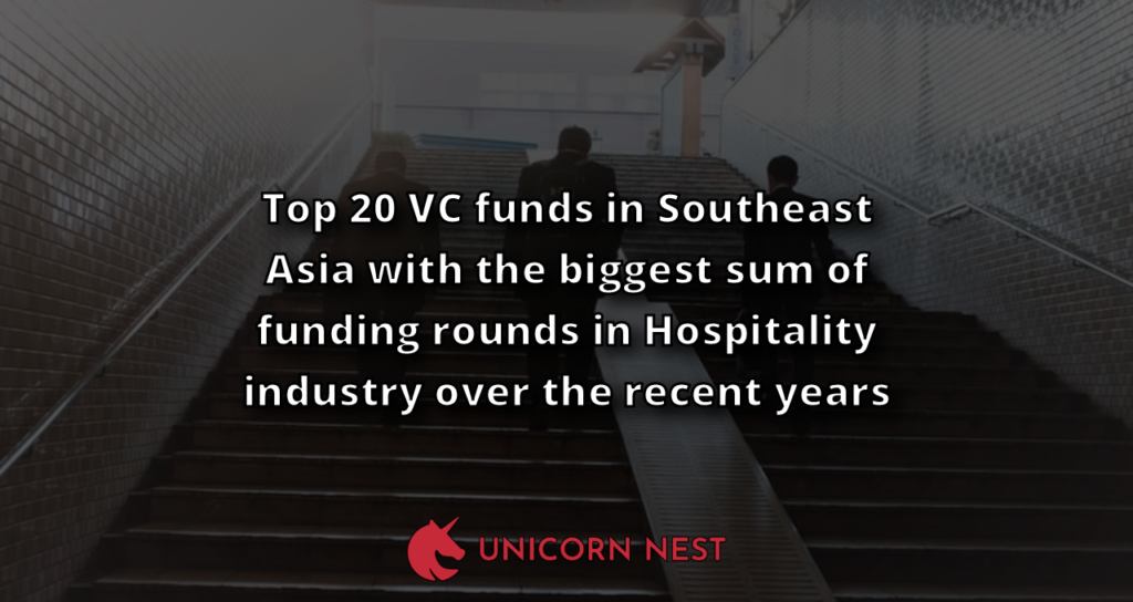 Top 20 VC funds in Southeast Asia with the biggest sum of funding rounds in Hospitality industry over the recent years