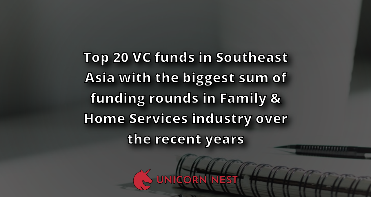 Top 20 VC funds in Southeast Asia with the biggest sum of funding rounds in Family & Home Services industry over the recent years