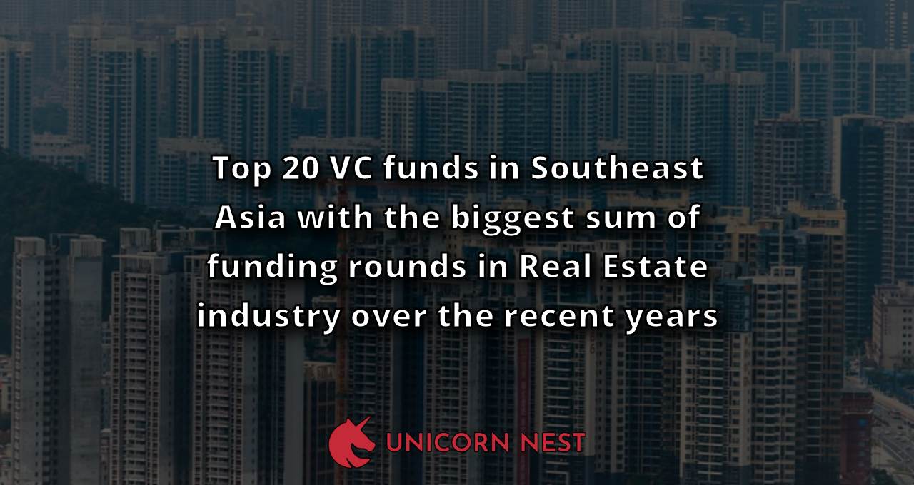 Top 20 VC funds in Southeast Asia with the biggest sum of funding rounds in Real Estate industry over the recent years