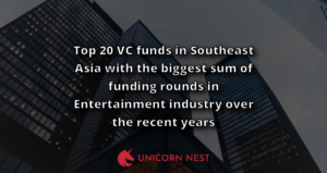 Top 20 VC funds in Southeast Asia with the biggest sum of funding rounds in Entertainment industry over the recent years