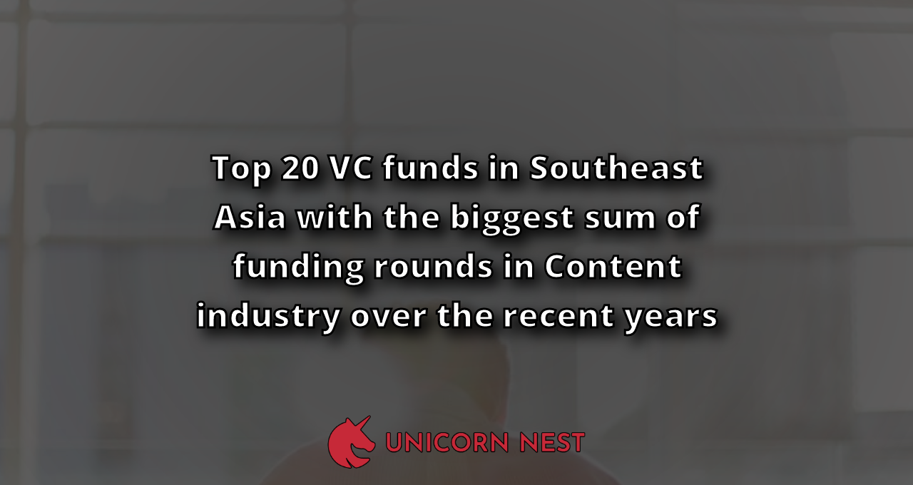 Top 20 VC funds in Southeast Asia with the biggest sum of funding rounds in Content industry over the recent years