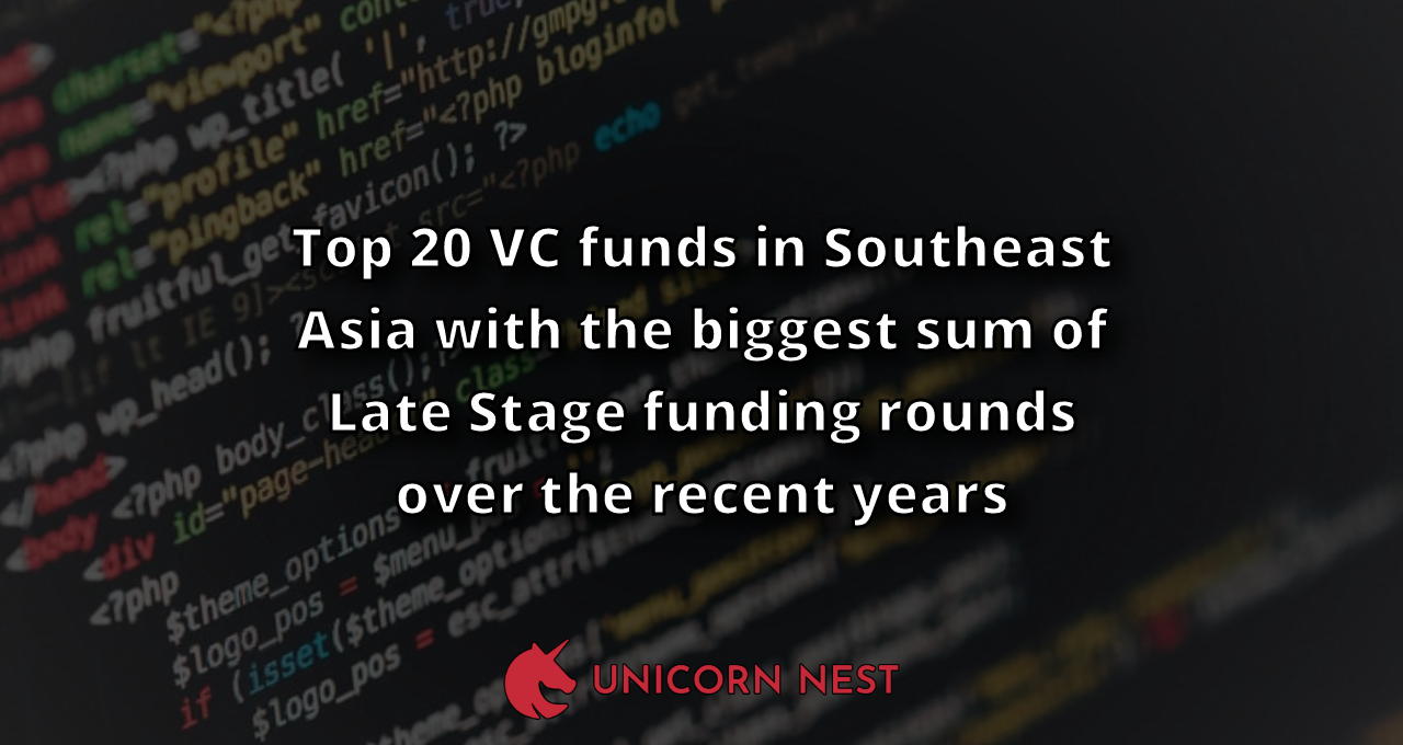 Top 20 VC funds in Southeast Asia with the biggest sum of Late Stage funding rounds over the recent years