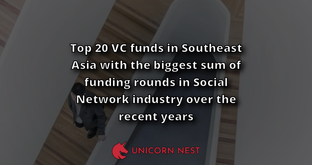 Top 20 VC funds in Southeast Asia with the biggest sum of funding rounds in Social Network industry over the recent years