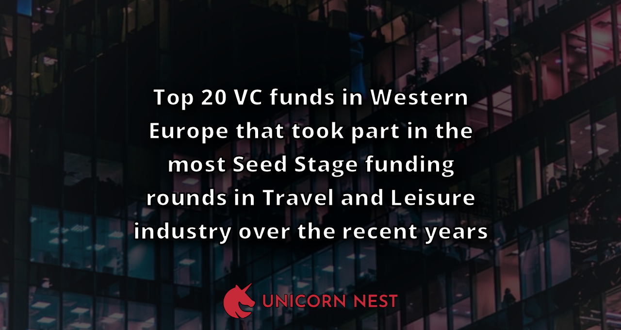 Top 20 VC funds in Western Europe that took part in the most Seed Stage funding rounds in Travel and Leisure industry over the recent years
