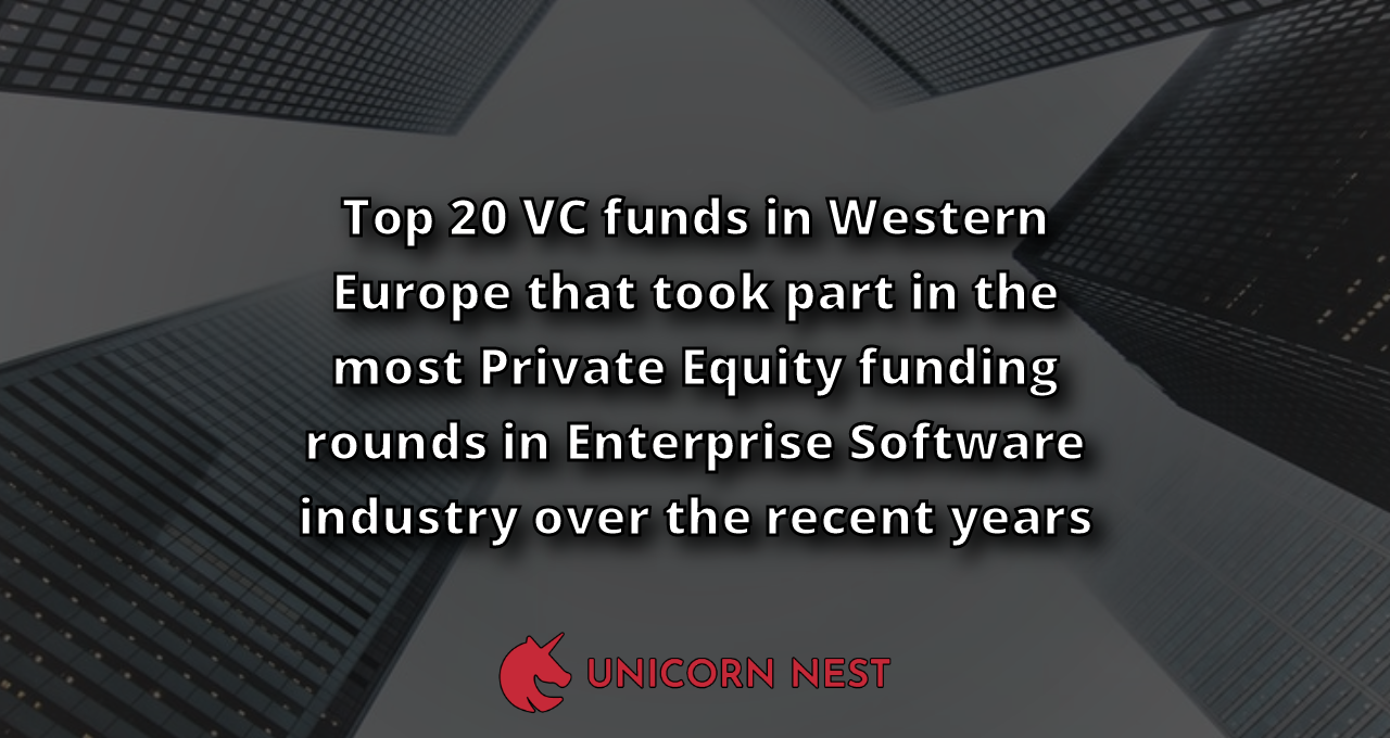 Top 20 VC funds in Western Europe that took part in the most Private Equity funding rounds in Enterprise Software industry over the recent years