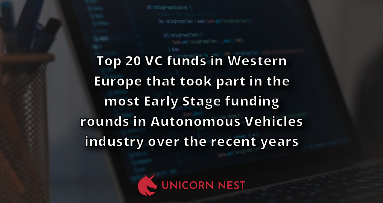 Top 20 VC funds in Western Europe that took part in the most Early Stage funding rounds in Autonomous Vehicles industry over the recent years