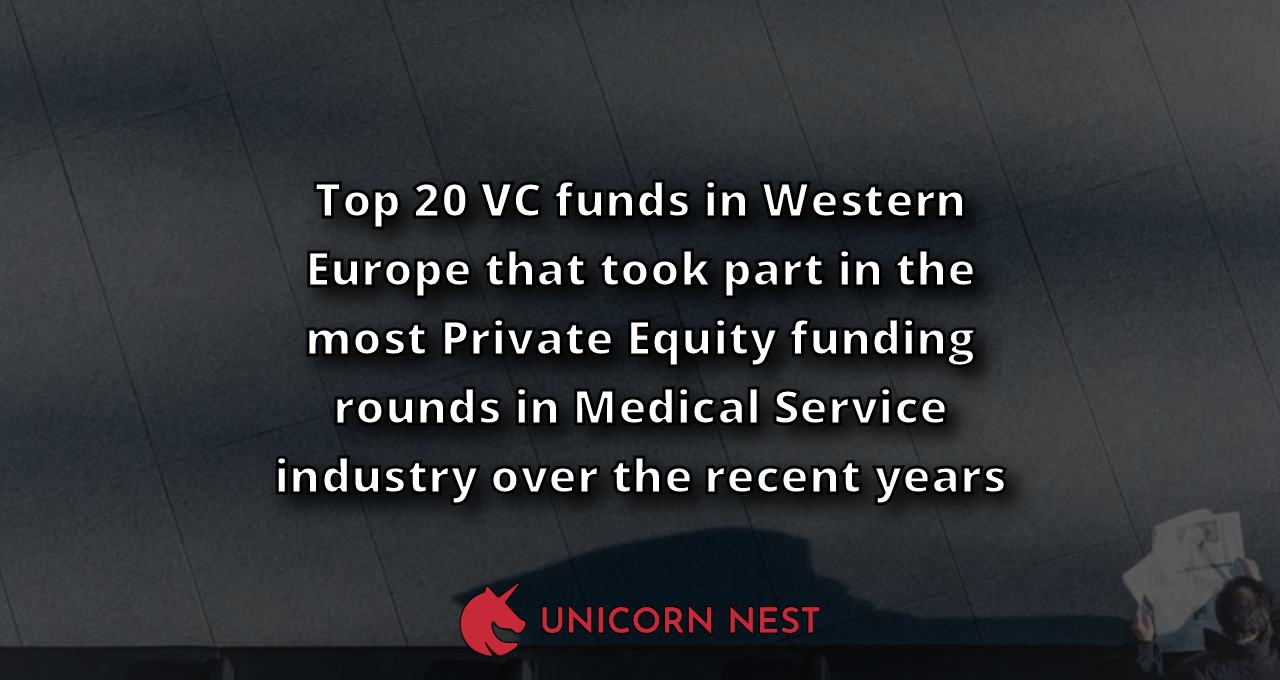 Top 20 VC funds in Western Europe that took part in the most Private Equity funding rounds in Medical Service industry over the recent years