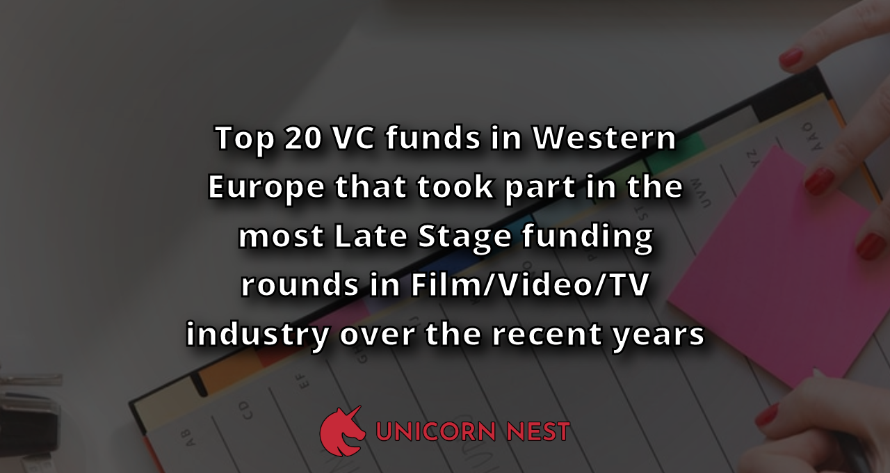 Top 20 VC funds in Western Europe that took part in the most Late Stage funding rounds in Film/Video/TV industry over the recent years