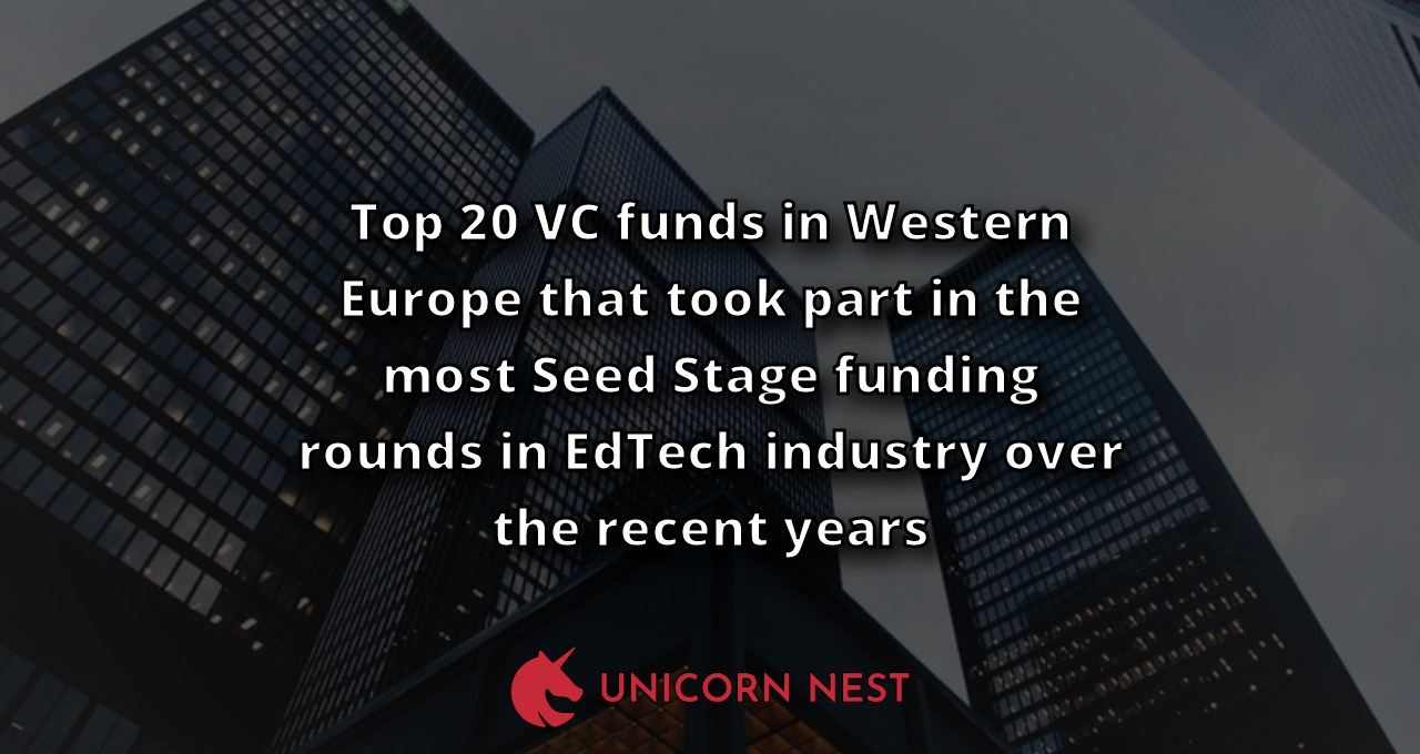 Top 20 VC funds in Western Europe that took part in the most Seed Stage funding rounds in EdTech industry over the recent years