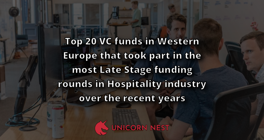 Top 20 VC funds in Western Europe that took part in the most Late Stage funding rounds in Hospitality industry over the recent years